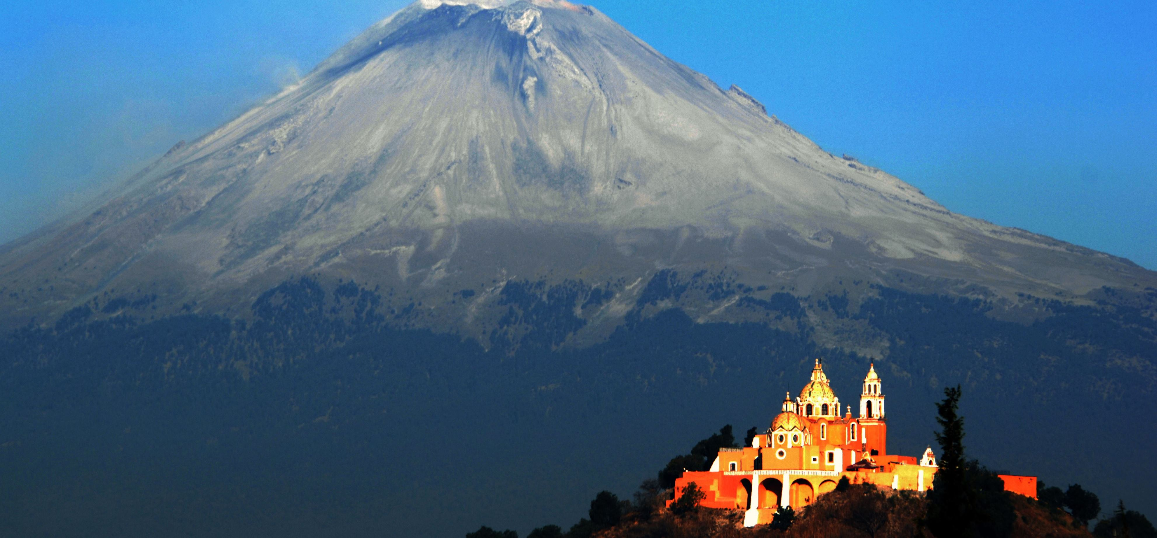 Church of Our Lady of Remedies at the top of Cholula pyramid