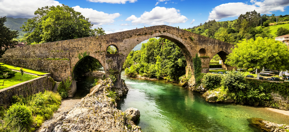 Old Roman Stone Bridge in Cangas de Onis, Asturias