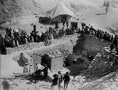 Photograph taken of the tomb of Tutankhamun during the 1922 excavations